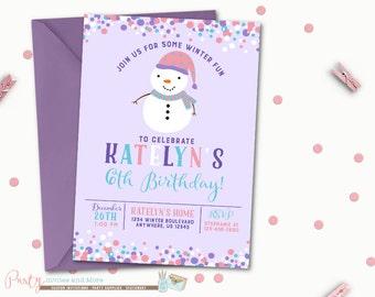 Snowman Invitation, Snowman Birthday Invitation, Winter Birthday Invitation, Christmas Birthday Invitation, Purple Winter Invitation