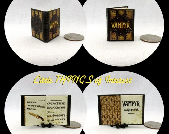 The VAMPYR SLAYERS HANDBOOK Dollhouse Miniature Book 1:12 Scale Illustrated Readable Book Wizard Witch Fortune Teller