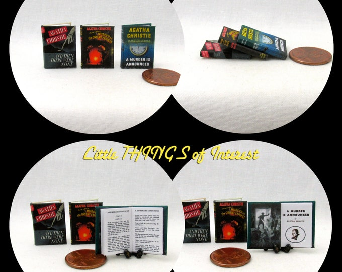 Miniature Books AGATHA CHRISTIE FAVORITES Set of 3 Miniature Books Dollhouse 1:12 Scale Readable Then There Were None Murder Orient Express