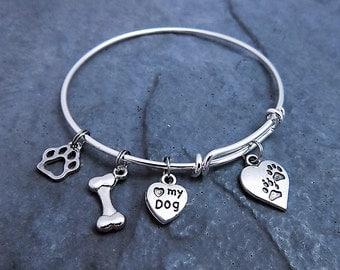 Dog Bracelet - Love My Dog - Expandable Bangle - Pet Lover Jewelry - Paw Charm Bracelet - Dog Lover Bracelet - Gift for Her - Adjustable