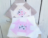 Quilt Kit- 13 Churndash Quilt Blocks Pink, Cream and Grey Perfect for your next DIY Quilt Top- Riley Blake Hounds Tooth Fabric