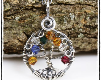 Family Tree of Life Necklace / Family Tree of Life Pendant - Antiqued Sterling Silver Birthstone Crystal Tree of Life Necklace