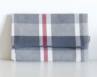 Foldover Clutch, Grey, White & Red Plaid With Red Interior, Fold over, Clutch, Bag, Purse, Plaid Clutch, Foldover Clutch