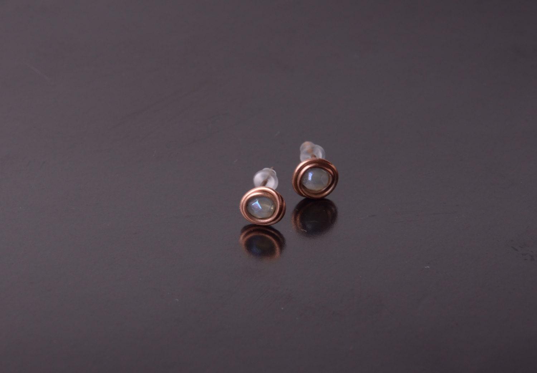 copper stud earrings simple stud rustic stud by