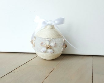 Beach Ornament, Shell Flower White Christmas Ornaments