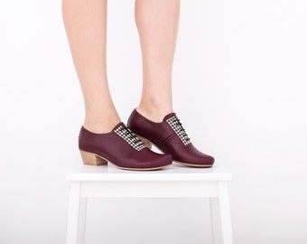Womens Leather Shoes, heeled purple with geometric Houndstooth detail limited edition statement shoe ADIKILAV , ON SALE 20%
