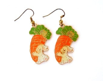 Vintage Easter Bunnies with Giant Carrots Cloisonne Enamel Earrings, Pierced Dangly Easter Earrings, Easter Bunny Rabbit Earrings