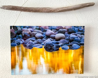 Metal Print, Nature Photography, Rocks, Autumn Reflection, Blue Golden, Driftwood, Abstract Photo, River, Lake Superior, Cabin Home Decor