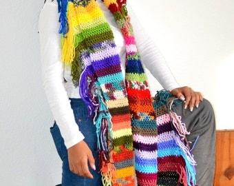 Mood swing scarf/ Crochet Fringe Scarf/ Boho Scarf/ Gift idea/ Christmas Gift/ Bohemian Scarf
