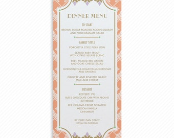 Art Deco Wedding Print-at-Home Dinner Menu with Printable Thank You Card Print-ready Place cards and Shell Pattern Table Number Card