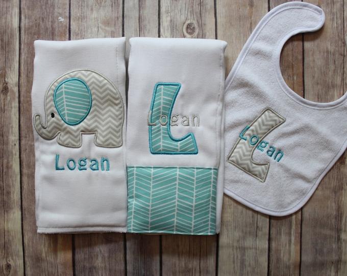 Baby Boy Elephant Burp Cloth Set, Monogrammed Baby Boy Elephant Burp Cloth Bib, Personalized Baby Boy Gift, Chevron Elephant Baby Gift