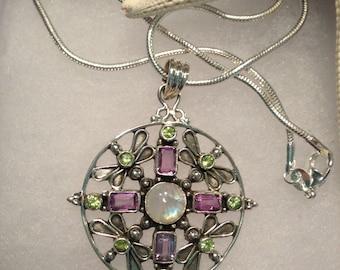 Moonstone Gemstone and Multi Stone Pendant in Sterling Silver Design