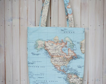 World map bag - cotton tote bag in map fabric - shopper bag - travel gift