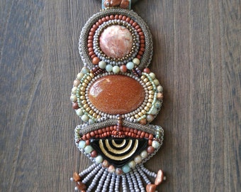 Bead Embroidered Goldstone & Aqua Terra Statement Necklace || Statement Jewelry || Fringe Necklace