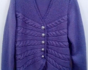 Hand knitted Cabled cardigan in Mauve Size 12-14