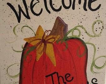 Pumpkin Fall Hand Painted Canvas