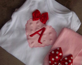 Valentine's Day Outfit - Pink and Red Minky Heart Initial - Plush Heart -  Leg Warmers - Baby Girl Set