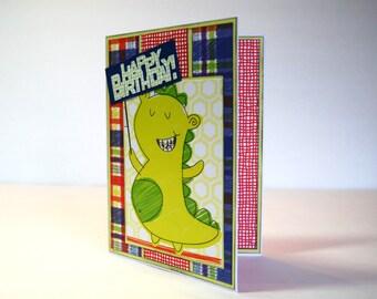 Happy Birthday - Handmade Greeting Card - Green Monster Kids Card