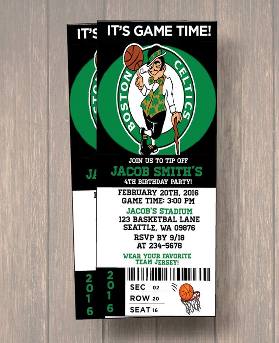 12 PER PACK Birthday Party Invitations Boston Celtics Birthday – Packs of Party Invitations