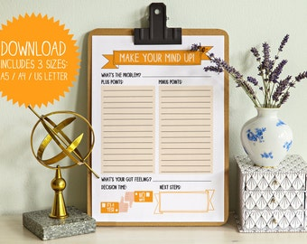 Make your mind up! Decision decider printable, pros and cons list