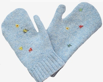 Upcycled Wooly Mittens Recycled Adult Icy Blue