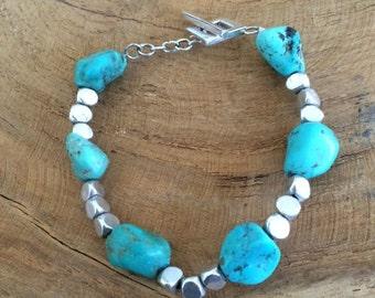 Bohemian Turquoise Bracelet | Sterling Silver Bracelet | Gemstone Bracelet