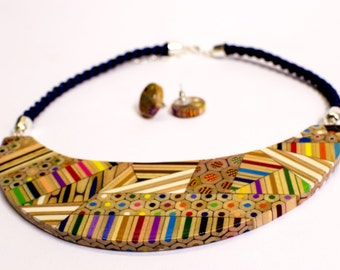 Composite Necklace from colored pencils.