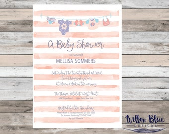 Clothesline Baby Shower Invitation, Girl, 5x7 or 4x6, Baby Shower Invitation #716
