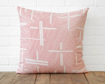 Red & White Stripe Linen Pillow