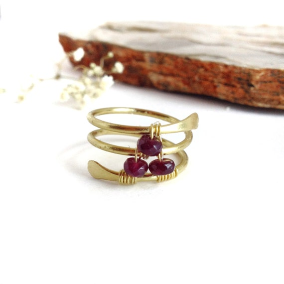 Red Garnet Ring Gold Thumb Rings for Women January