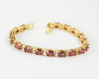 Mexican Fire Opal Bracelet 14K Yellow Gold Plated