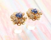 4g 2g 0g 00g Wedding Plugs Sky Blue & Clear Swarovski Crystal Flower Gauges Size 4 2 0 00 Upcycled Vintage Prom Bridal Something Blue