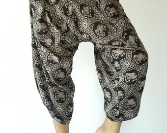 HC0113 Harem pants Handmade pants, Thick Smock Waist Low Crotch, unisex Yoga Harem Pants  - elastic waistband  - Fits all !