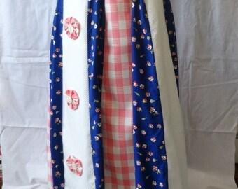 1970s Vintage 14 Gore Hippie Boho Skirt, Handkerchief Petal hem, Pink, White, Blue & Lace Trim Petticoat, Handmade Buttons, Vintage Clothing