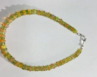 18.55ctw Peridot & African Fire Opal Sterling Silver Bead Bracelet 7 inch