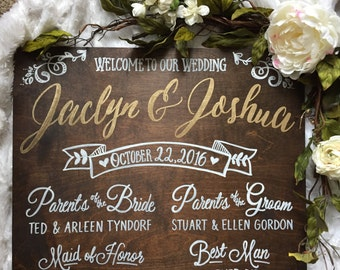 Rustic Wood Wedding Program Sign • Wedding Program Sign • Wedding Party Sign • Wood and gold wedding sign