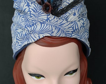 In-Stock: 1930s 1940s-Style Patriotic Victory Turban Draped in Vintage Rayon Fabric