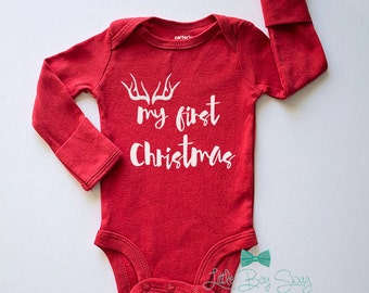 Boys My First Christmas Bodysuit, Newborn Bodysuit, Baby Boy Christmas Outfit, Baby Boy Clothes, Boys Christmas Gift, Baby Shower Gift