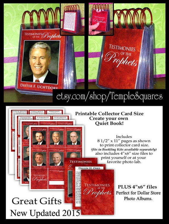 """PRINTABLES - Graphic Service - """"Testimonies of the Prophets"""" 2015 Resizing Free Resources to printable 4x6 and Collector Card Sizes"""