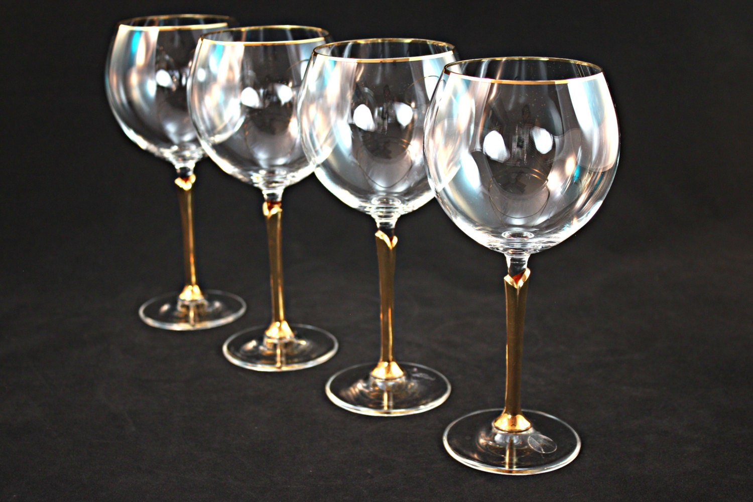 Gold rimmed crystal wine glass set crystal stemware crystal - Lenox gold rimmed wine glasses ...