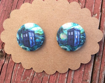 Doctor Who Starry Night fabric covered button earrings
