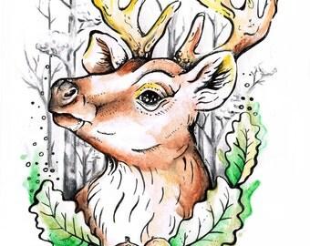 Deer watercolor lovely print