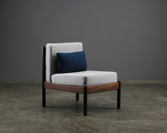 RESERVED: Vintage Mid Century Modern Armless Lounge Chair Restored Danish