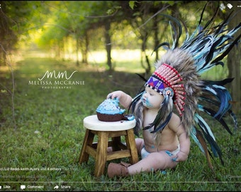 N03- For 9 to 18 month Toddler / Baby: TurquoiseFeather Headdress for the little ones !