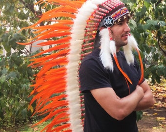N84- Perfect For Halloween!! Extra Large Orange  Feather Headdress (43  inch long )/ war bonnet.