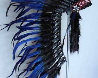 Y06 - Indian Native American , War bonnet , Medium Electric Blue Feather Headdress (36 inch long )..
