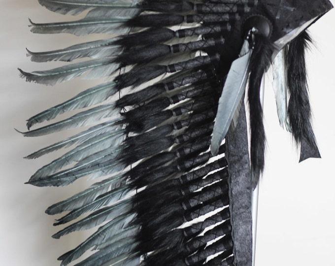 Y77 - Medium  Grey Indian Headdress, native american Style warbonnet.