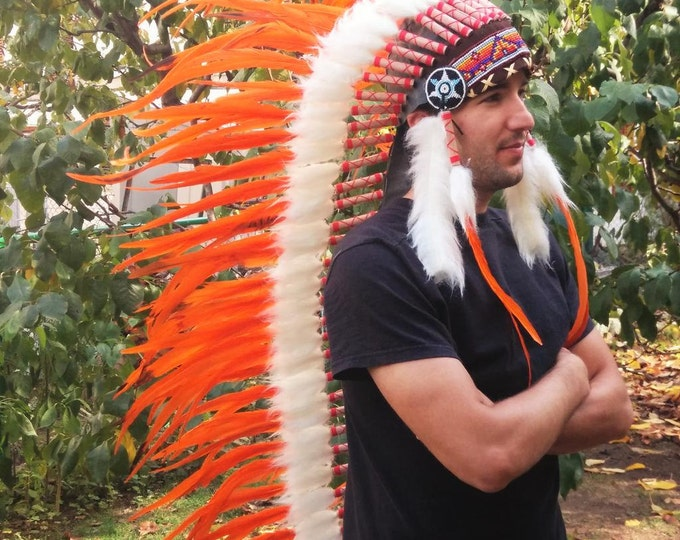 PRICE REDUCED N84  Extra Large Orange Feather Headdress (43 inch long )/ war bonnet.