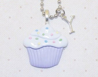 Cupcake With Sprinkles Necklace With Initials, Cupcake Necklace, Cupcake Jewelry, Cupcake Pendant, Birthday Necklace, Birthday Jewelry