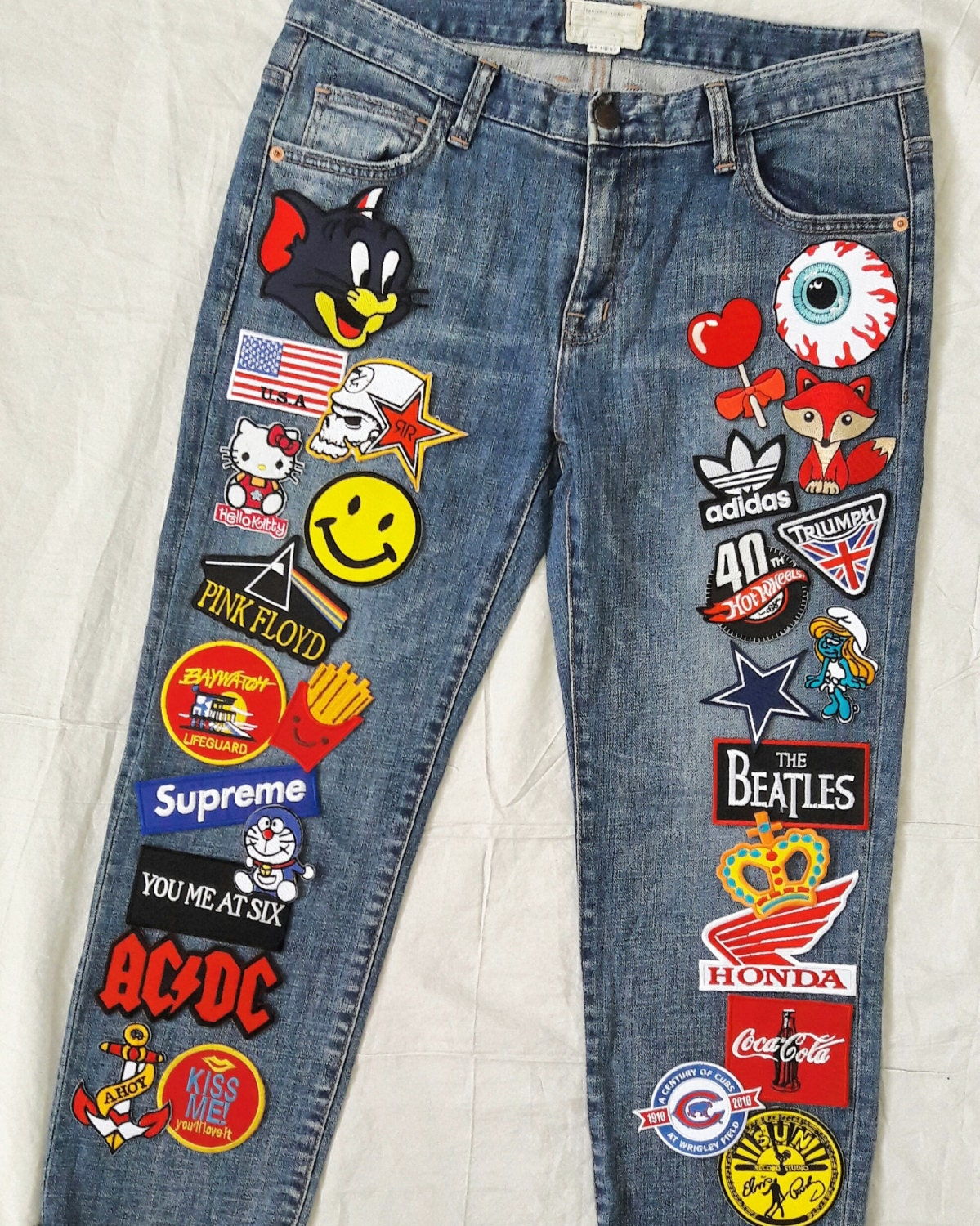 Patched Denim / Patched Jeans / Reworked Vintage Jeans with